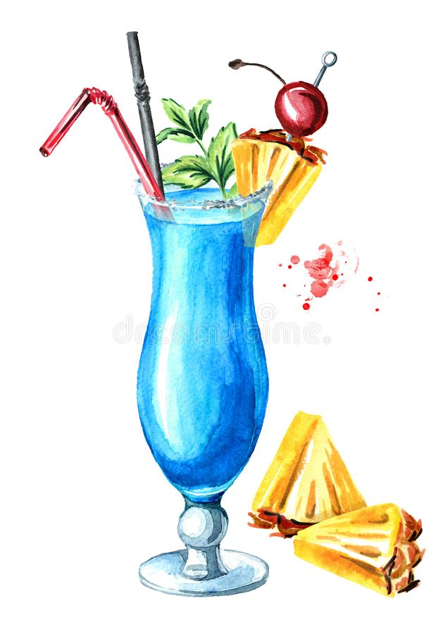 Blue lagoon cocktail with pineapple and decor. Watercolor hand drawn illustration isolated on white background.  royalty free illustration