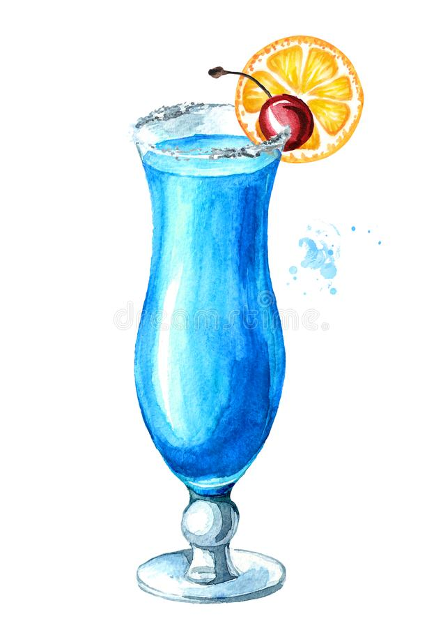 Blue lagoon cocktail with porange and cherry. Watercolor hand drawn illustration isolated on white background.  stock illustration