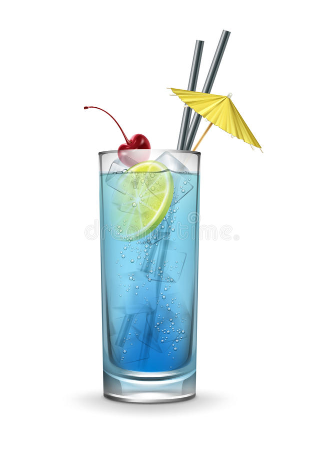 Blue lagoon cocktail. Vector Blue lagoon cocktail garnished with maraschino cherry,ice cubes, fresh lemon, yellow party umbrella and black straw tubes isolated stock illustration