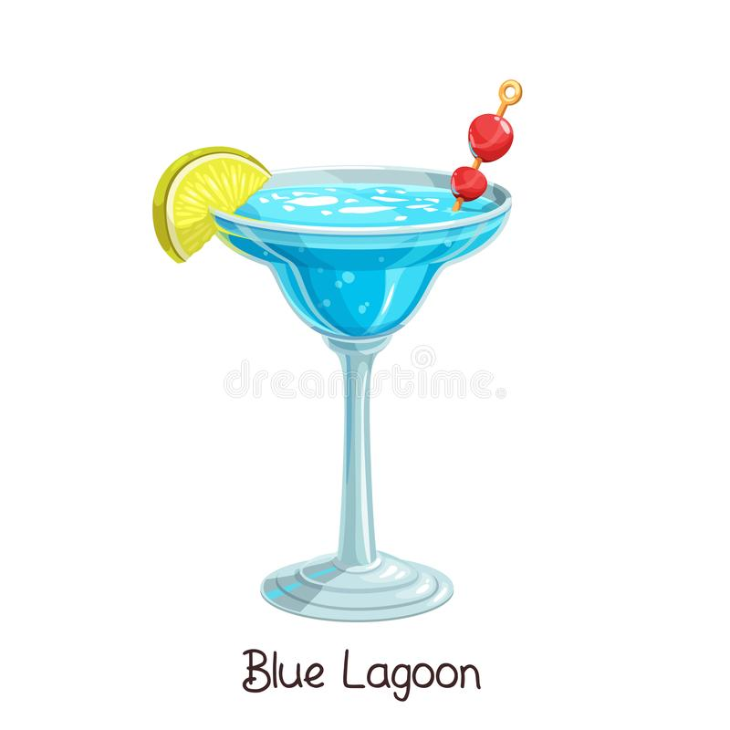 Blue lagoon cocktail. Vector glass of blue lagoon cocktail with slice lemon and cherry isolated on white. Color illustration summer alcohol drink royalty free illustration