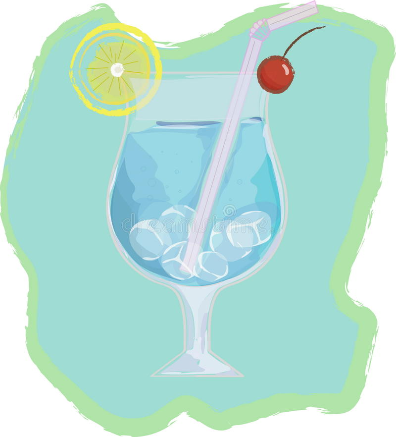 Blue lagoon cocktail. Vector illustration of blue lagoon cocktail - popular alcoholic drink royalty free illustration