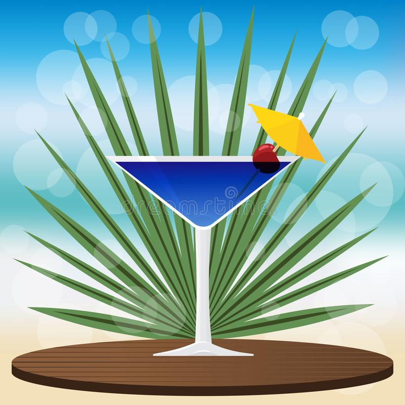 Blue lagoon cocktail on wooden classic tray. On blurred background with bokeh vector illustration for web and print, invitation and menus for bar royalty free illustration