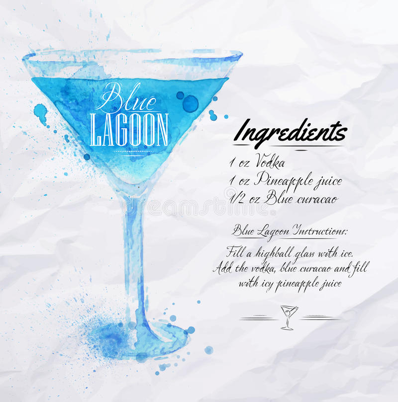 Blue Lagoon cocktails watercolor. Blue Lagoon cocktails drawn watercolor blots and stains with a spray, including recipes and ingredients on the background of stock illustration