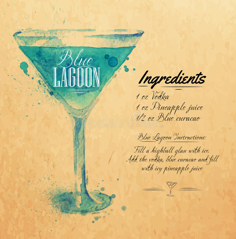 Blue Lagoon cocktails watercolor kraft. Blue Lagoon cocktails drawn watercolor blots and stains with a spray, including recipes and ingredients on the background stock illustration