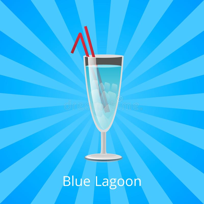Blue Lagoon Drink with Two Straws, Cocktail Mint. Blue lagoon drink with two straws, alcoholic drink with mint liqueur and fizzy sprite, summer refreshing vector illustration