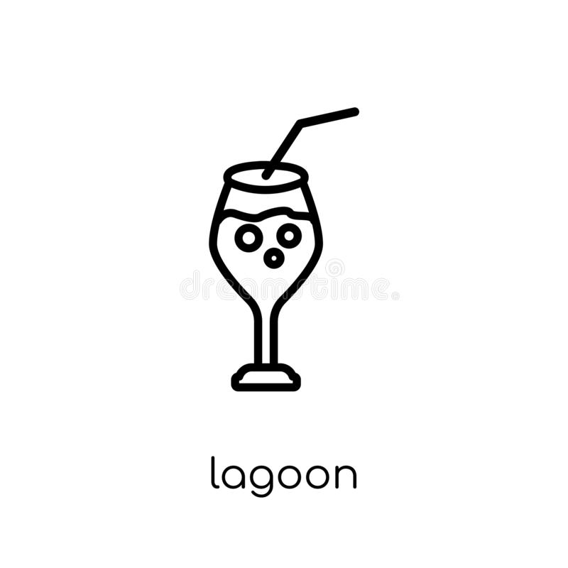 Blue Lagoon icon from Drinks collection. Blue lagoon icon. Trendy modern flat linear vector blue lagoon icon on white background from thin line Drinks royalty free illustration