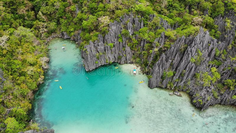 Blue lagoon and karst mountains, view from the top. Palawan, Philippines stock photo