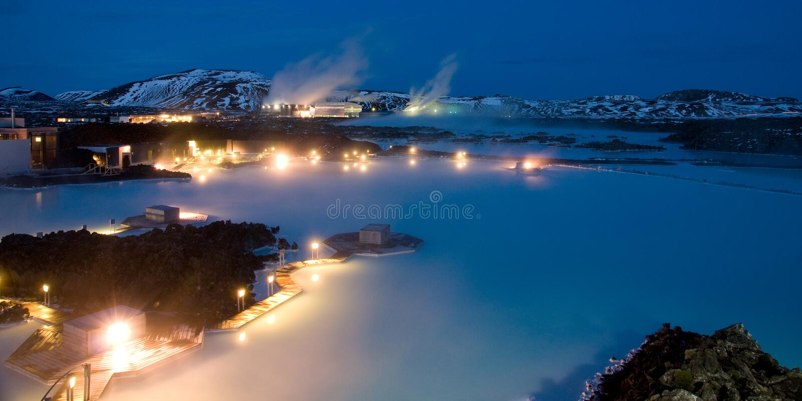 Blue Lagoon At Night. Blue Lagoon, Iceland. Night shot, long exposure with snow on the landscape stock photography