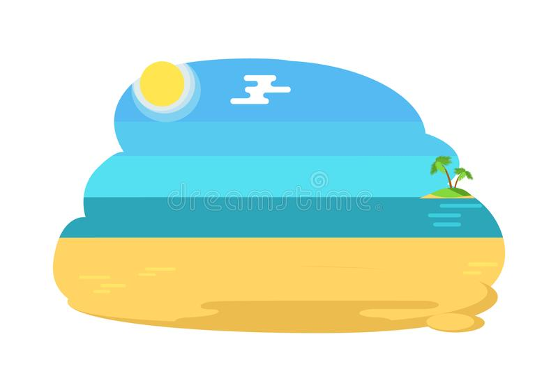 Blue Lagoon Tropical Beach Distant Island and Palm. Blue lagoon tropical beach with distant island that has palm trees, hot yellow sand under endless sky vector royalty free illustration