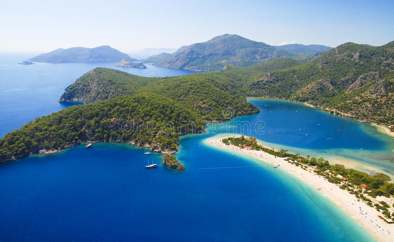 Blue lagoon in Turkey stock images