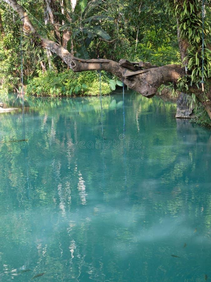 Blue lagoon in Vang Vieng, Laos royalty free stock photos