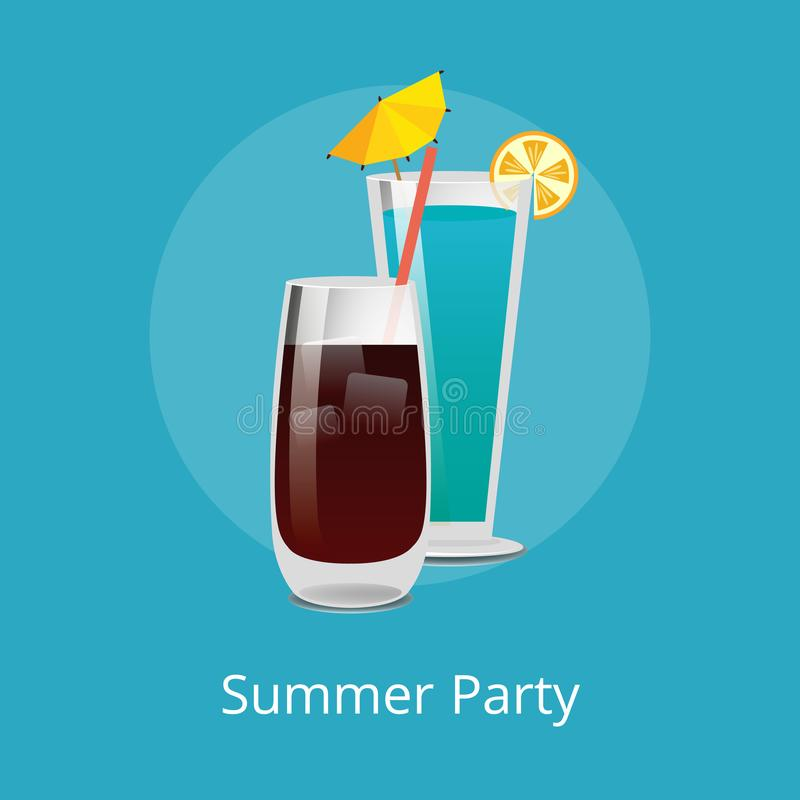 Blue Lagoon Vodka Cola with Ice Refreshing Drinks. Blue Lagoon and Vodka cola with ice refreshing drinks with straw in elite stemware, popular summer cocktails stock illustration