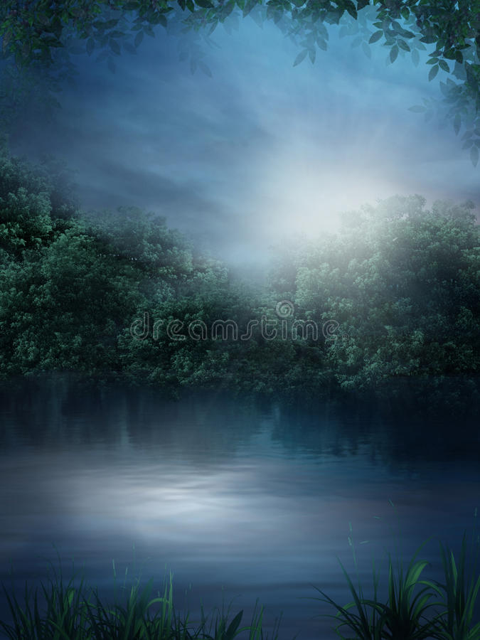Blue lake. Dark scenery with a lake and vines