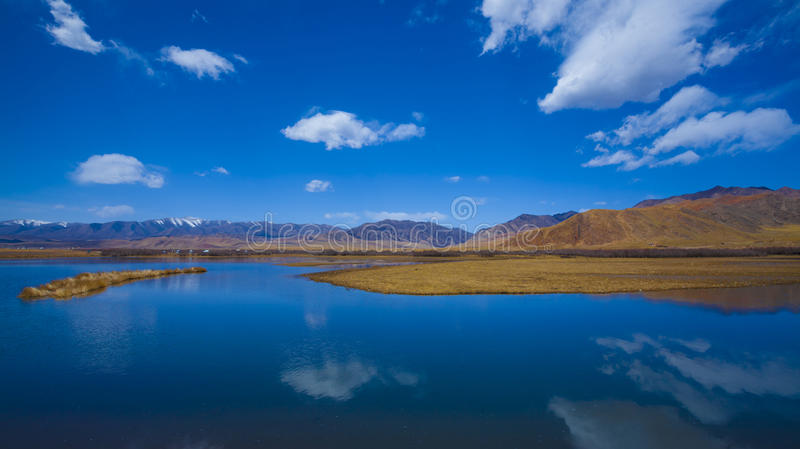 Blue lake and autum nature stock photo