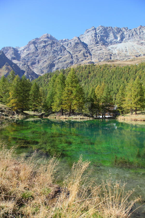 Blue lake of Breuil Cervinia stock photography