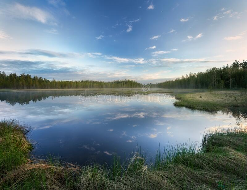 Blue lake with green grass off the shore and fog in the background. stock photos