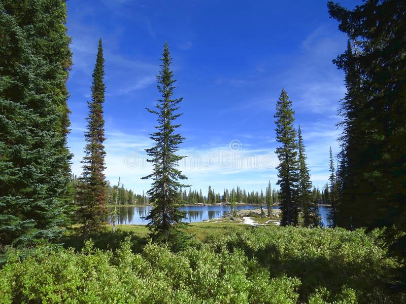 Blue Lake in Mountains of Idaho. Blue Lake in the mountains of central Idaho is a popular recreation area for hikers, campers, and fishermen royalty free stock images
