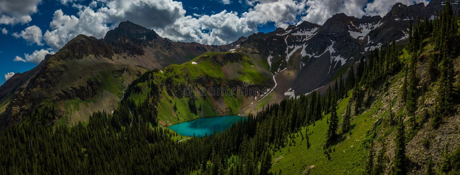 Blue Lake near near Ridgway Colorado with Mountain Sneffels, Dallas Peak and Gilpin Peak in the background stock images