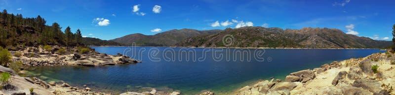 Blue lake panorama royalty free stock photo