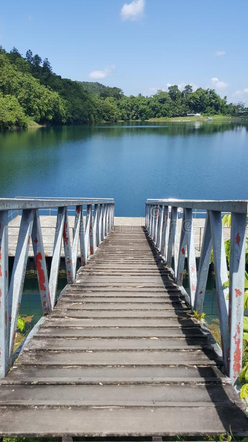 Blue Lake. The sloping staircase towards silent beauty royalty free stock images