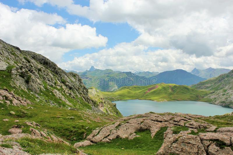 Blue Lake Surrounded By Green And Gray Grass Field Free Public Domain Cc0 Image