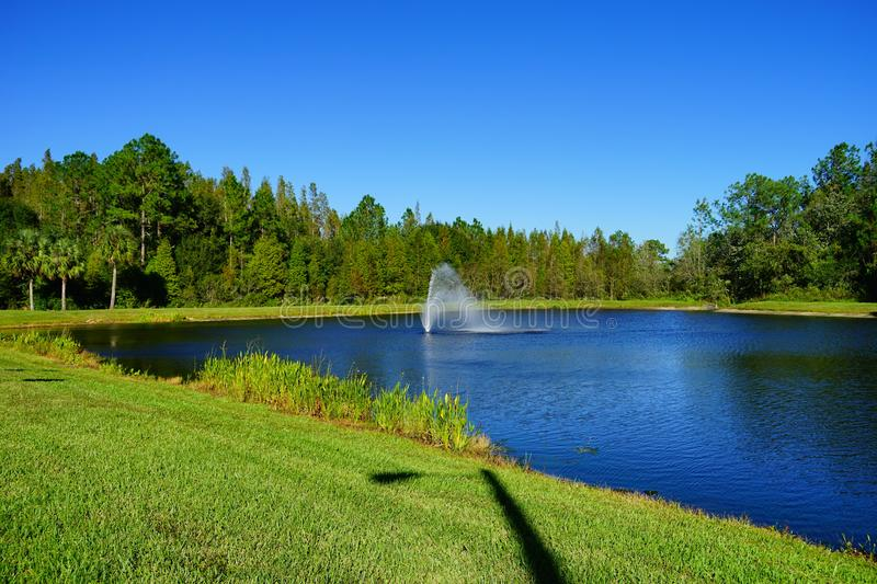 A blue lake in Tampa palms. Tampa palms community blue pond, taken in Tampa, florida stock images