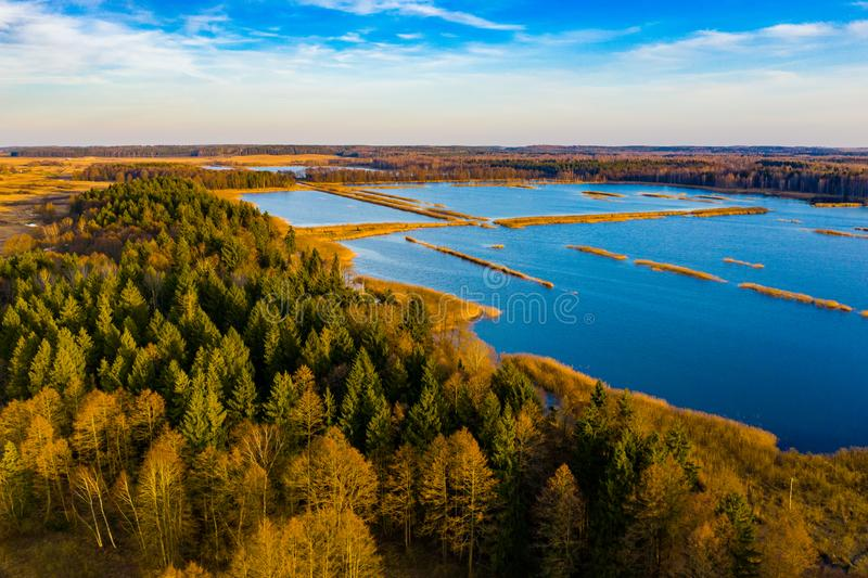 Blue lakes surrounding thick forest aerial view. Season concept. Beautiful landscape. In countryside stock photography