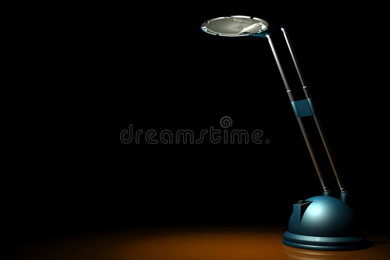 Blue lamp on black stock images