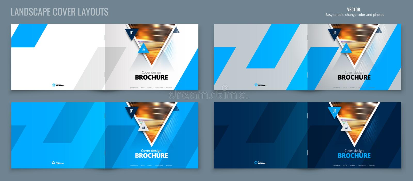 Blue landscape Catalog template layout, cover design annual report, magazine, flyer or booklet in A4 with triangle. Geometric shapes. Vector Illustration for vector illustration