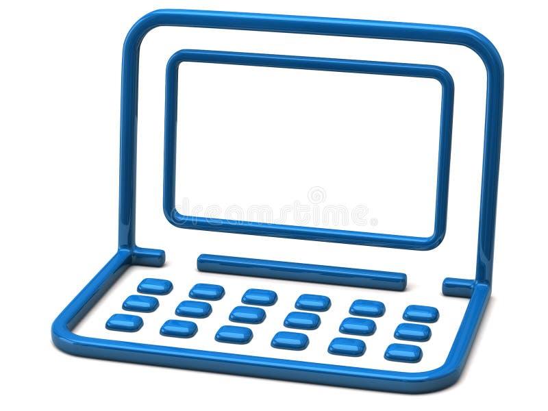 Blue laptop icon stock illustration