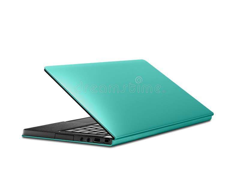 Blue laptop isolated on white stock image