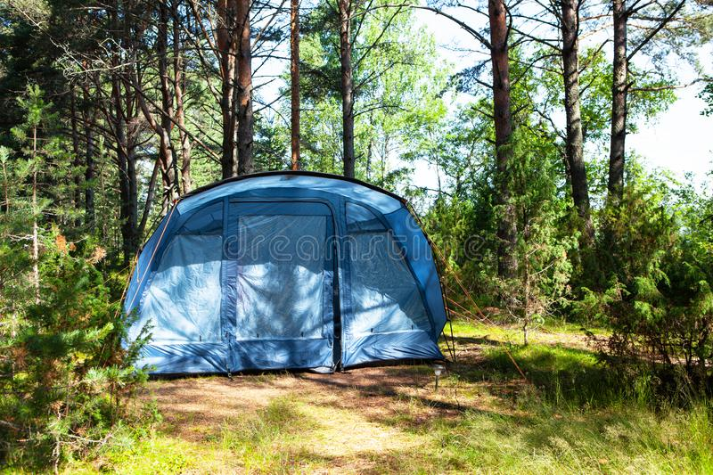Blue large four-seater camping tent stands in shade of pine forest, weather is sunny. Summer camp, rest, hike. Front view. royalty free stock photos