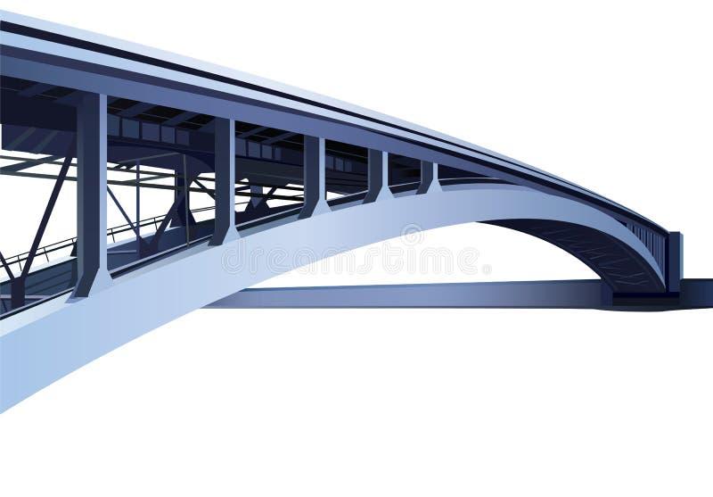 Blue large metal bridge vector illustration