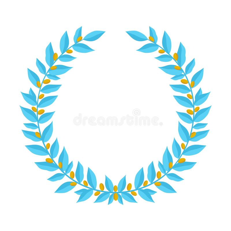 Blue laurel wreath with golden berries. Vintage wreaths heraldic design elements with floral frames made up of laurel stock illustration