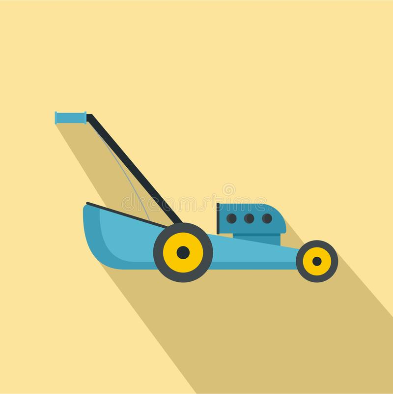 Blue lawn mower icon, flat style royalty free illustration