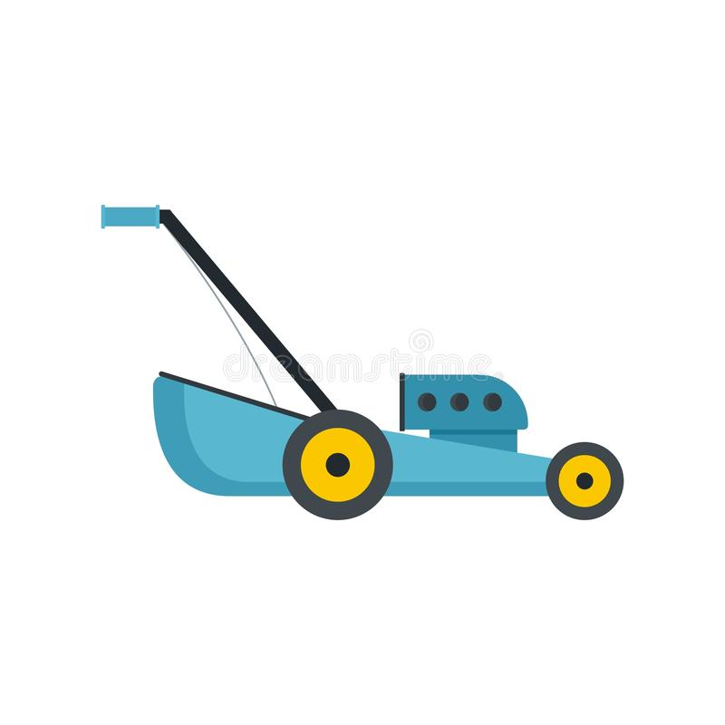 Blue lawn mower icon, flat style. Blue lawn mower icon. Flat illustration of blue lawn mower vector icon for web isolated on white royalty free illustration