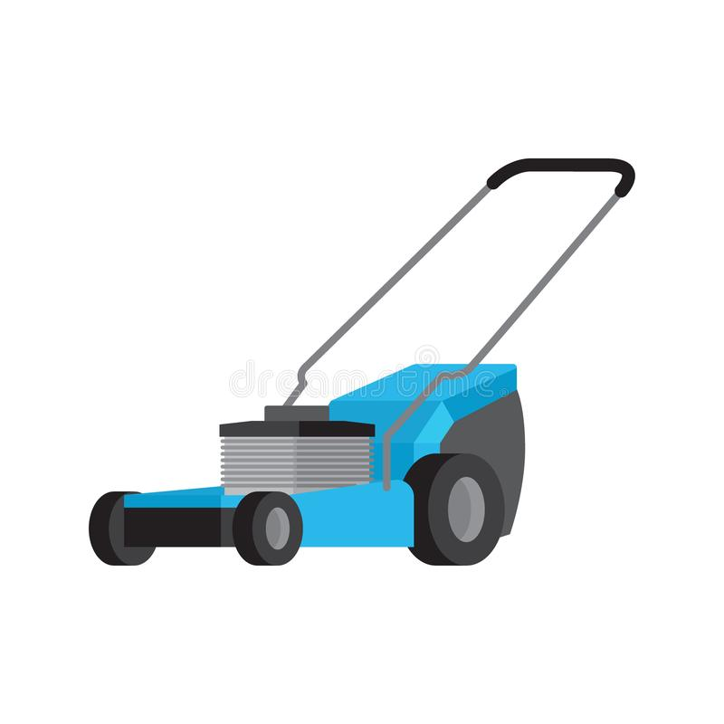Blue lawnmower isolated flat vector icon stock illustration