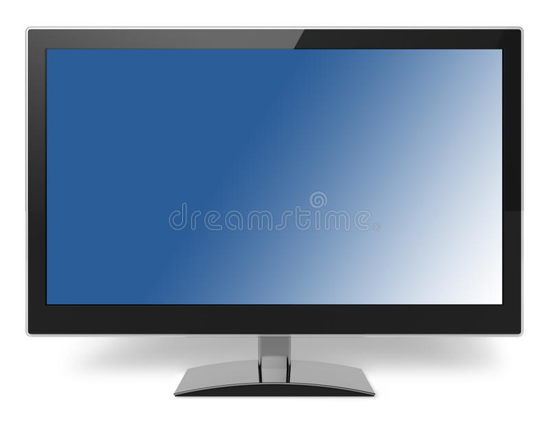 Blue Lcd Tv Monitor. Isolated On White Background royalty free stock photos