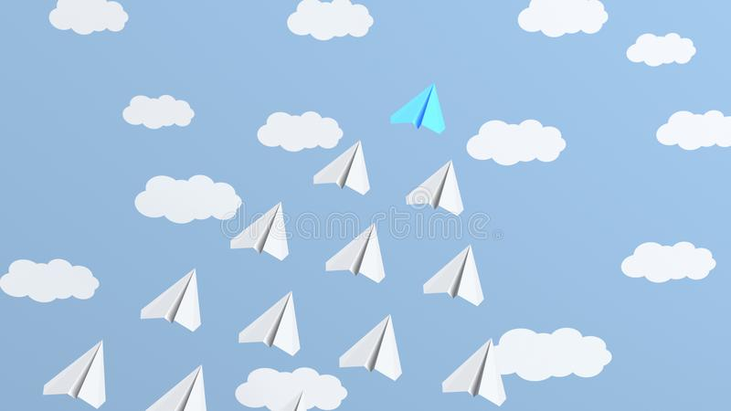 Blue leader plane. Leadership, success, and teamwork concept, blue leader airplane flying with whites paper airplanes, on blue background with clouds. 3D vector illustration