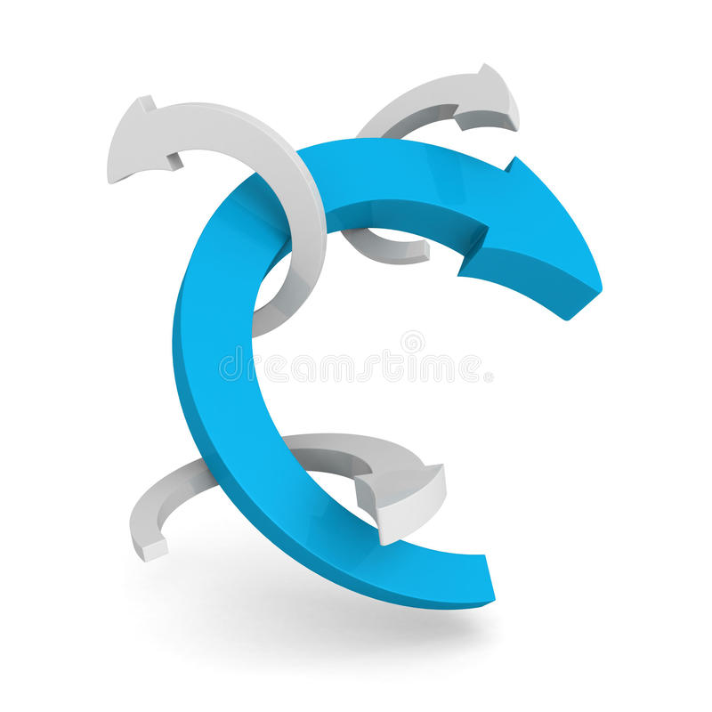 Blue leader round cycled arrow on white background. 3d render illustration stock illustration