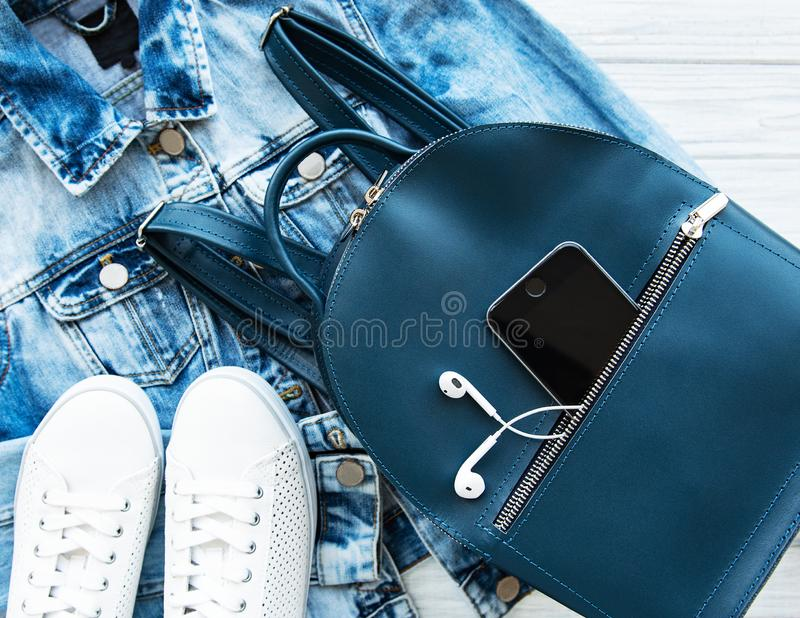 Blue leather backpack. Blue womens leather backpack and womens clothing and accessories stock photo
