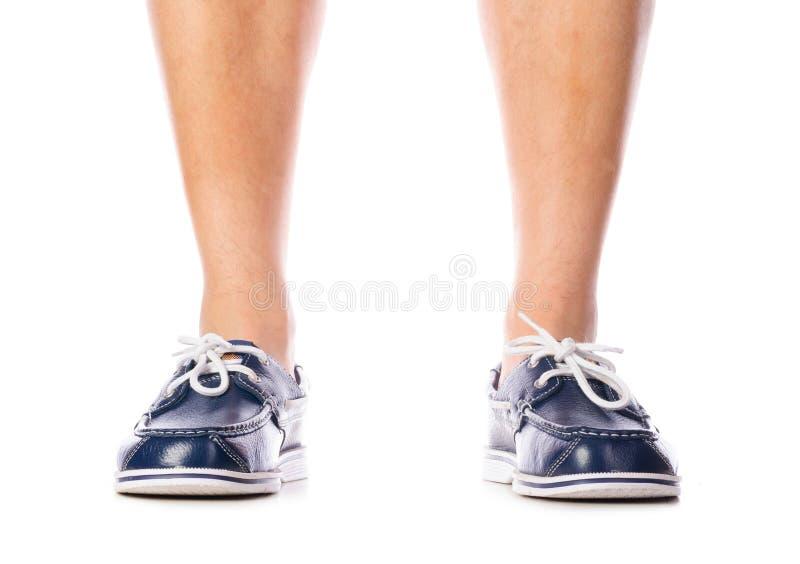 Blue leather deck shoes stock photos