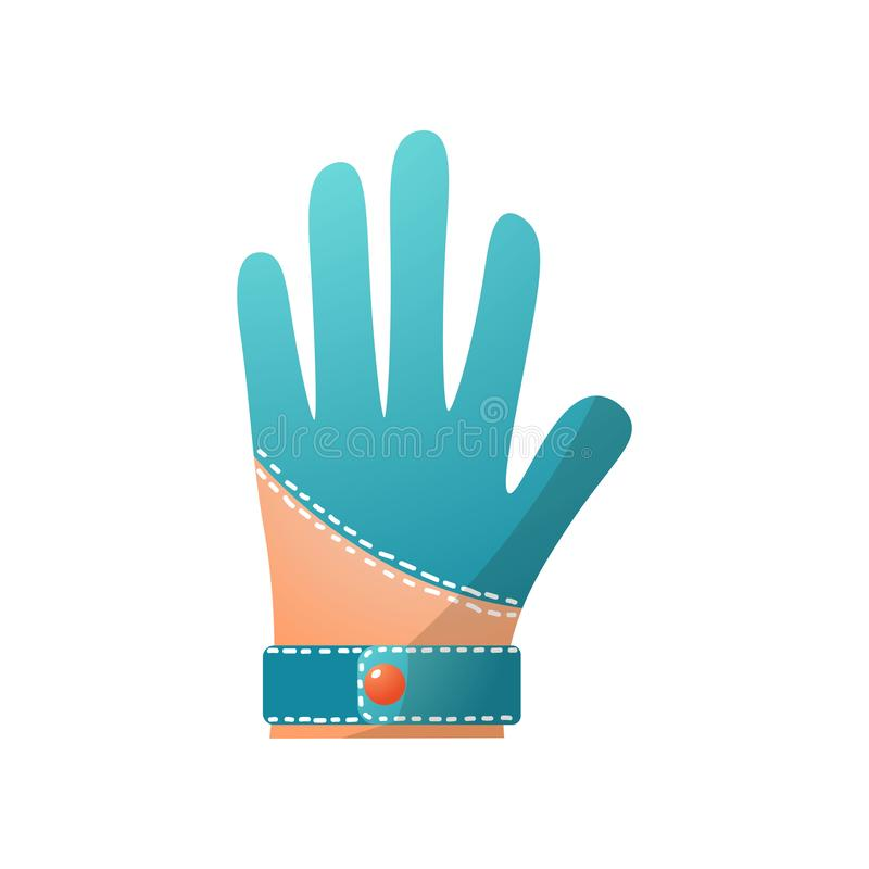 Blue leather golf glove, modern professional equipment. High quality. Cartoon style. Vector illustration on white background vector illustration