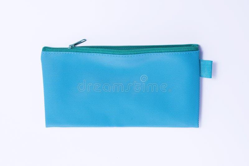 Blue leather pencil case stock image