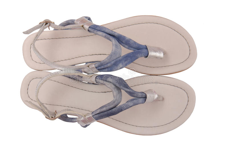 Blue leather sandals stock photography