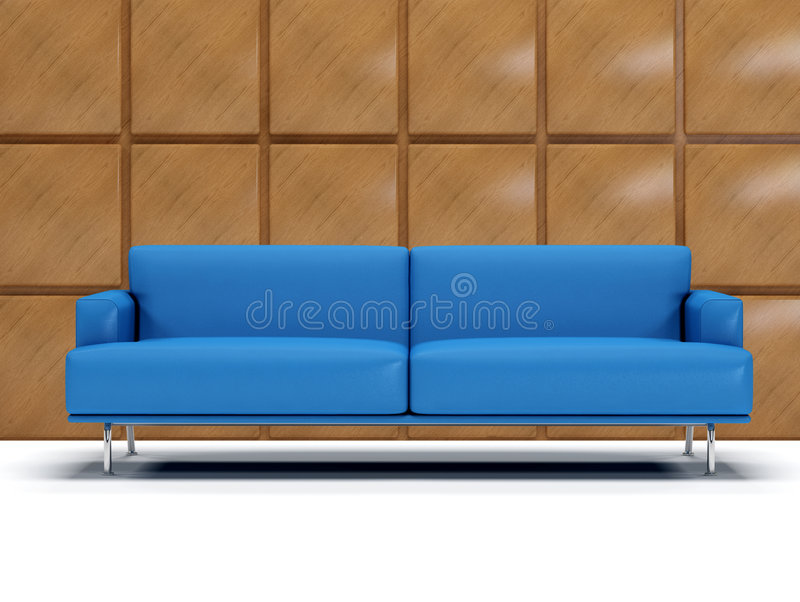 Blue Leather Sofa And Boiserie Stock Image Image 5654881