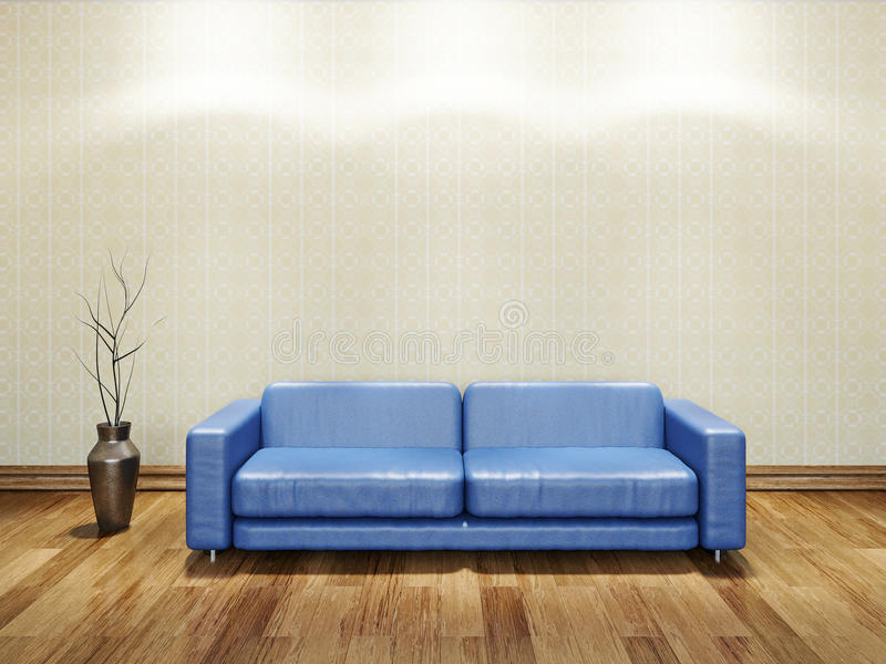 blue leather sofa stock photography image 33707372. Black Bedroom Furniture Sets. Home Design Ideas