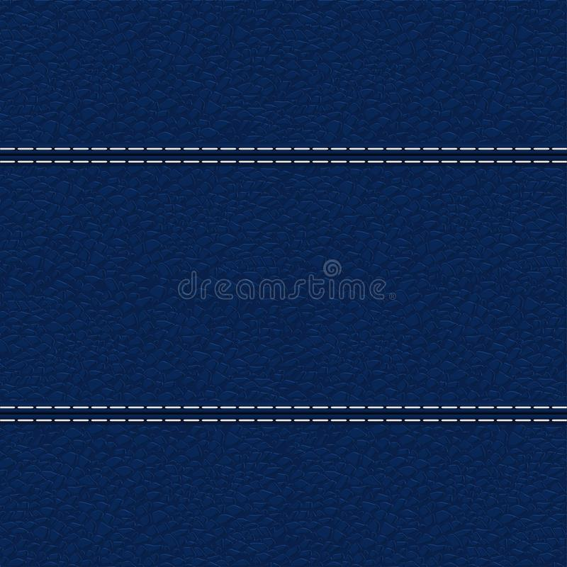 Blue leather texture with white stitching. Leather background. Blue texture with white stitching. Vector illustration stock illustration