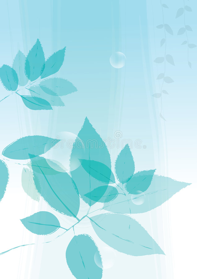 Blue leaves background stock illustration