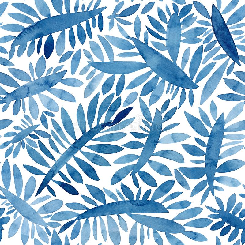 Blue leaves watercolor texture seamless pattern. Floral background. Colorful painted organic and nature pattern. royalty free illustration